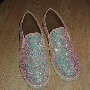 Pink holographic glitter slip ons